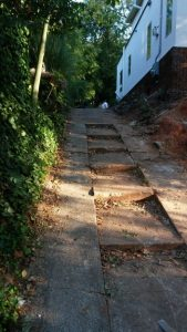 before concrete stairs